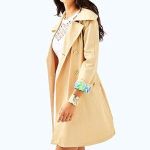Lilly Pulitzer Qynn Trench Coat Size Large